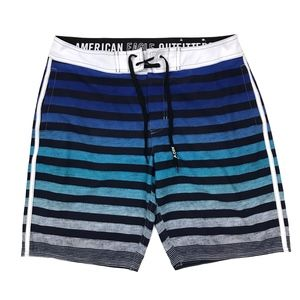 American Eagle Blue Striped Ombre Board Shorts